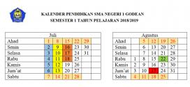 Kalender Pendidikan SMAN 1 Godean Tahun Pelajaran 2018/2019