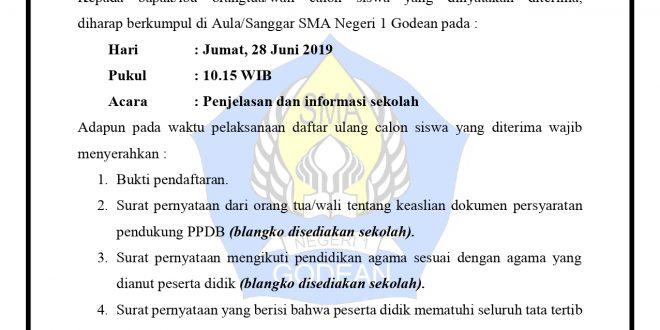 (INFO PENTING) Pengumuman PPDB 2019/2020