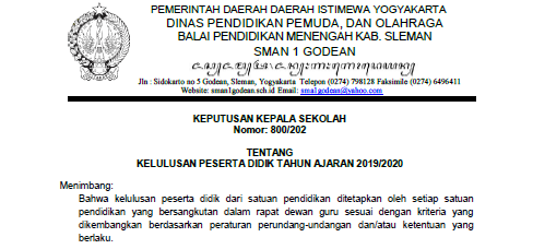 SK Kelulusan Peserta Didik SMAN 1 Godean Tahun Ajaran 2019/2020