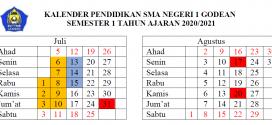 Kalender Pendidikan SMAN 1 Godean Tahun Pelajaran 2020/2021